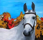 Horse In Autumn Paintings - Showstopper by Veronica Silliman