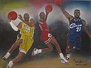 Nba Painting Framed Prints - Showtime Framed Print by ChrisMoses Tolliver