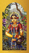 Vrindavan Das Prints - Shrimati Radhika picking flowers Print by Vrindavan Das