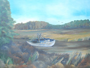 Shrimp Boat Paintings - Shrimp boat by Dawn Nickel