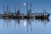 Sea Moon Full Moon Posters - Shrimp Boat Moonset Poster by Dawna  Moore Photography
