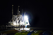 Boats At Dock Photo Posters - Shrimp Boats at Night Poster by Benanne Stiens