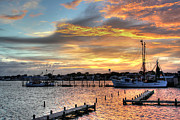 Boats In Harbor Prints - Shrimp Boats at Sunset Print by Benanne Stiens