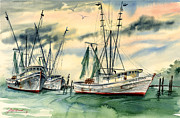 Peaceful Scene Paintings - Shrimp Boats in the Keys by Jill Westbrook