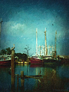Fishing_boat Posters - Shrimp Boats Is A Comin Poster by Lianne Schneider