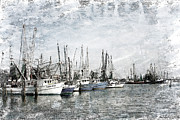 Mississippi Gulf Coast Framed Prints - Shrimp Boats Sketch Photo Framed Print by Joan McCool
