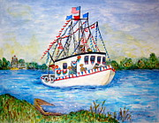 Louisiana Seafood Art - Shrimp Festival by Joan Landry