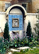 Virgin Mary Painting Prints - Shrine and Tulips Print by Terry Reynoldson