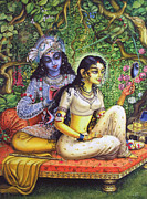 Original Artwork Paintings - Shringar lila by Vrindavan Das