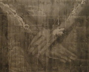 Origin Drawings Posters - Shroud Of Turin- Jesus Hands Poster by Riane Cook