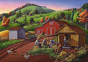Corn Paintings - Shucking Corn Crib Harvest Rural Farm Landscape 5x7 greeting card by Walt Curlee