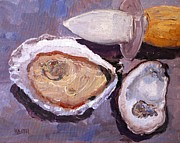 Raw Oyster Posters - Shucking Poster by Keith Wilkie