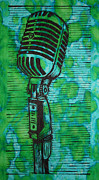 Linoleum Print Drawings - Shure 55s by William Cauthern