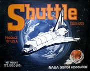 Outer Space Painting Framed Prints - Shuttle Brand Framed Print by Ric Rice
