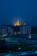 Chat Posters - Shwedagon Pagoda Before Sunrise  Poster by Arj Munoz