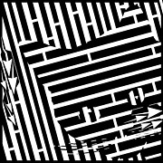 Optical Illusion Digital Art Posters - Shy Hiding Cat Maze Poster by Yonatan Frimer Maze Artist