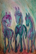 Sweating Painting Posters - Shy Horse Triangle Poster by Hilde Widerberg
