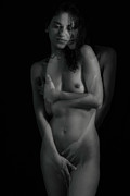 Monochrome Nude Acrylic Prints - Shy Nudity Acrylic Print by Mark Ashkenazi