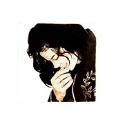 Mj Drawing Drawings Posters - Shy smile Poster by Lillian Melker
