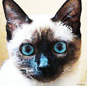 Happy Art Posters - Siamese Cat Art - Black and Tan Poster by Sharon Cummings