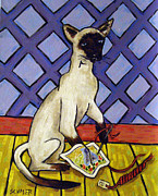 Needlepoint Paintings - Siamese Cat Doing Needlepoint by Jay  Schmetz