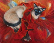 Siamese Paintings - Siamese cat by Ursula Brozovich