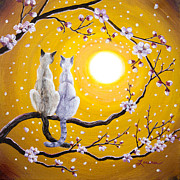 Cherry Blossoms Painting Originals - Siamese Cats Nestled in Golden Sakura by Laura Iverson