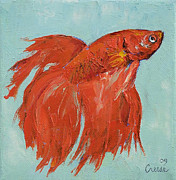 Siamese Paintings - Siamese Fighting Fish by Michael Creese