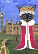 Furry Felines Painting Prints - Siamese Queen of England Print by Jamie Frier