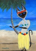 Furry Felines Painting Prints - Siamese Queen of Hawaii Print by Jamie Frier