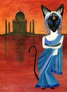 Furry Felines Painting Prints - Siamese Queen of India Print by Jamie Frier
