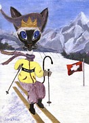 Furry Felines Painting Prints - Siamese Queen of Switzerland Print by Jamie Frier