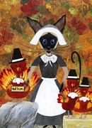Quaker Hat Framed Prints - Siamese Queen of Thanksgiving Framed Print by Jamie Frier