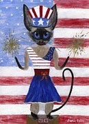 4th July Painting Prints - Siamese Queen of the U S A Print by Jamie Frier