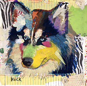 Dog Abstract Art Print Framed Prints - Siberian Husky Framed Print by Michel  Keck