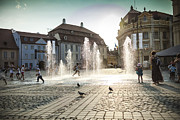 National Past Time Photos - Sibiu city Romania central square by Daniel Barbalata