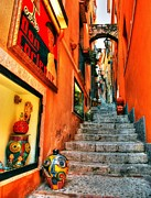 Lanterns Framed Prints - Sicilian Steps Framed Print by Mel Steinhauer