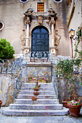 Scenic Posters - Sicilian Village Steps and Door Poster by David Smith