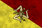 Sicily Digital Art Posters - Sicily Flag Poster by World Art Prints And Designs