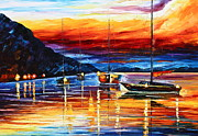 Yacht Painting Originals - Sicily Messina by Leonid Afremov