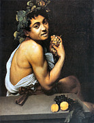 Italian Wine Digital Art Framed Prints - Sick Bacchus  Framed Print by Michelangelo Merisi da Caravaggio