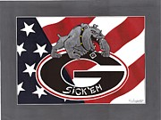 U S Flag Originals - Sick em by Herb Strobino