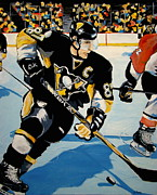 Hockey Painting Metal Prints - Sid The Kid Metal Print by Philip Kram