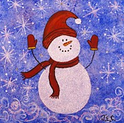 Jane Chesnut Prints - Sid The Snowman Print by Jane Chesnut