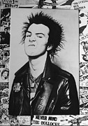 Punk Drawings Posters - Sid Vicious Collage Poster by Steve Hunter