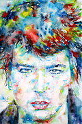 Punk Bass Prints - Sid Vicious Watercolor Portrait Print by Fabrizio Cassetta