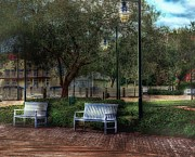 Park Benches Photo Originals - Side By Side by Arnie Goldstein