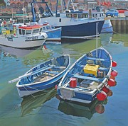 Boats In Water Paintings - Side by Side in Whitby Harbour by Graham Clark