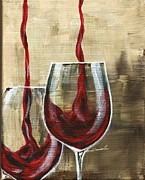 Pouring Wine Painting Prints - Side by Side Print by Lisa Owen-Lynch