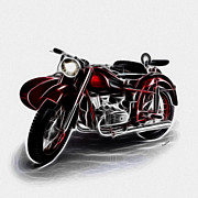 Kawasaki Framed Prints - Sidecar Framed Print by Cheryl Young